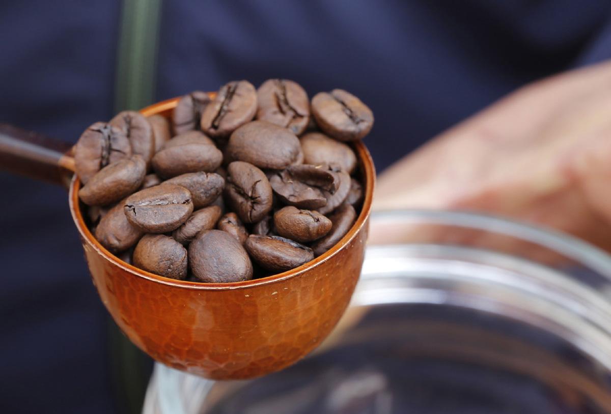 담양커피농장에서 키운 열매를 따서 볶은 커피. 임영노 씨가 커피체험을 위해 볶은 커피를 덜어 분쇄기로 옮기고 있다.