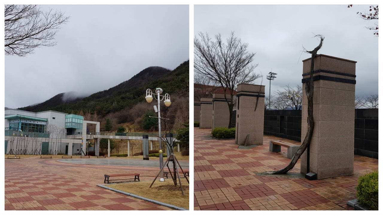 좌 : 모악산 아래의 전북도립미술관. / 우 : 기둥에 말걸다. 박재연작