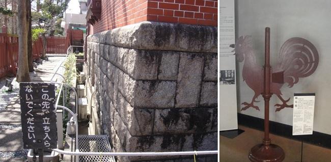토마스 집 지하실 쪽 돌벽과 집 이름이 붙여진 닭 모양 풍향계(높이 80cm) 입니다.