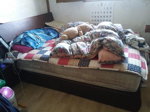 자리 잡은 침대 방에 자리 잡은 재활용 침대가 튼튼하고 깨끗하고 실용적이다.