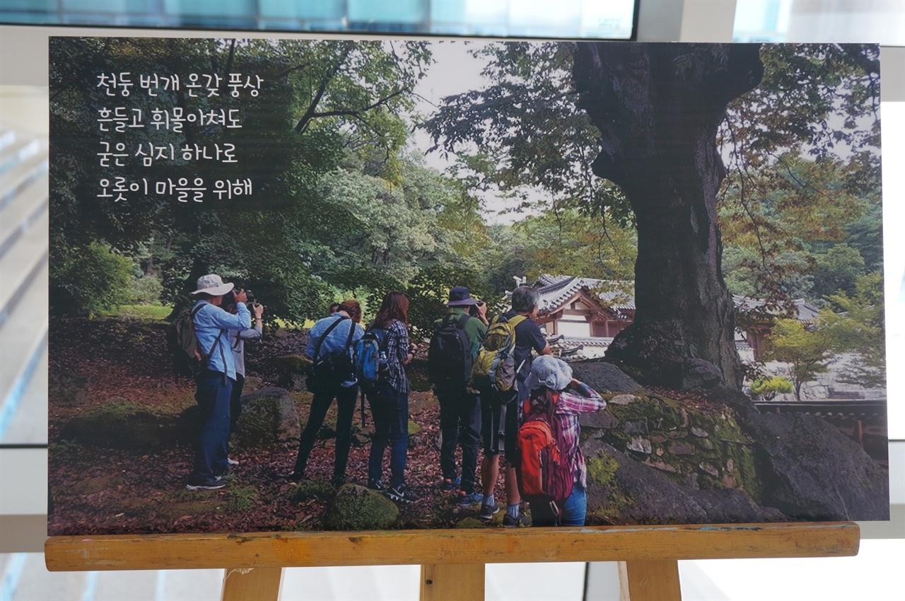 지난 2017년 이천시민기록자들와 이천문화원 사진동아리 회원들은 이천의 마을 구석구석을 찾아다니며 노거수 이야기를 채록하고 카메라에 담았다. 이천시청 2층 로비에서 열리고 있는 '이천의 노거수 사진전'에서.