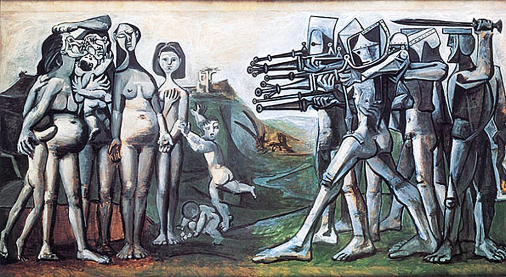 <한국에서의 학살> 파블로 피카소, 1951. 이 작품은 한국전쟁 당시 1951년 신천학살을 고발한다.