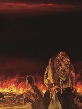 4·3을 대중에게 알리느라 힘쓴 강요배 화백의 작품. 당시 토벌대의 초토화 작전으로 마을이 불타는 장면을 그렸다.