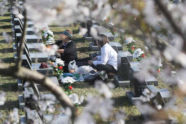 오늘은 4.3 70주년 3일 오전 제주시 봉개동 4·3평화공원에서 열린 제70주년 4·3희생자 추념식 직전 유가족들이 행불인 표석에서 희생자를 추모하고 있다.