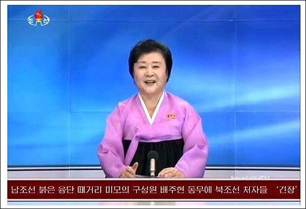 """""""남조선 붉은 융단 떼거리 미모의 구성원 배주현 동무에 북조선 처자들 '긴장'""""이라는 보도를 했다는 해설과 함께 급속도로 공유되고 있는 갈무리 사진."""