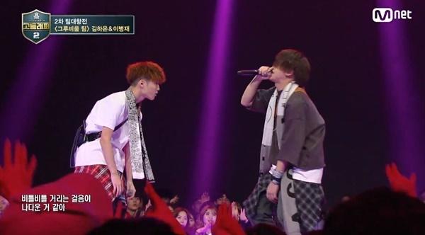 고등래퍼2 Mnet <고등래퍼2> 출연자 김하온-이병재가 '바코드'를 부르고 있다.