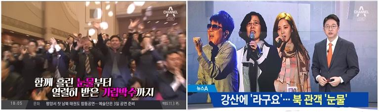 평양 공연 관객의 '눈물' 소개한 채널A <뉴스TOP10>(4/2), <뉴스A>(4/3)