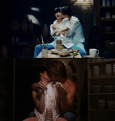 주제곡 'Unchained Melody'와 함께 큰 사랑을 받았던 영화 <사랑과 영혼>은 정연, 사나가 코믹스럽게 재현했다.