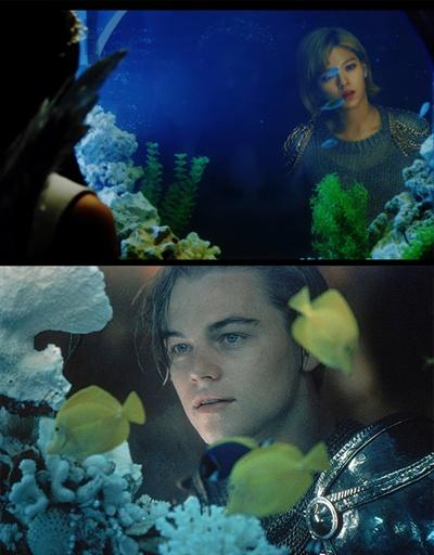영화 <로미오와 줄리엣> 대형 어항 장면에선 정연이 '꽃미남' 시절 레오나르도 디카프리오 못잖은 멋짐을 뽐냈다.