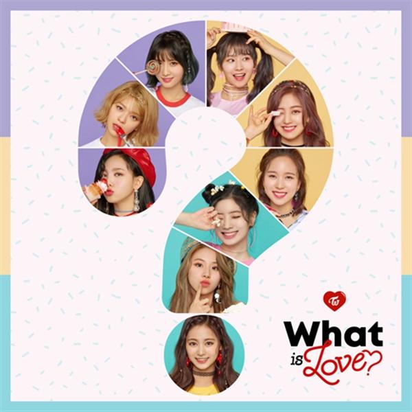트와이스의 새 음반 < What Is Love ? > 표지.  타이틀곡은 소속사 JYP의 수장 박진영이 만들었다.