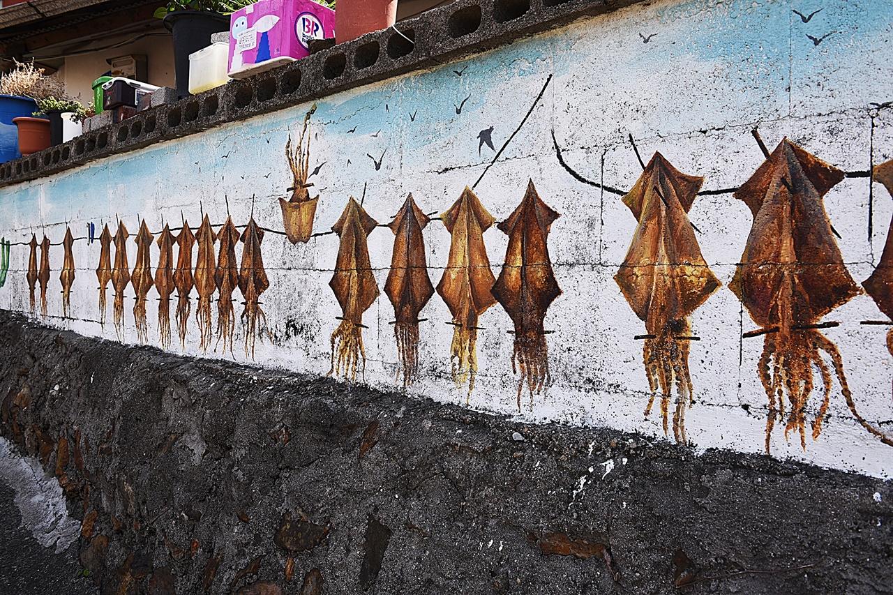 논골담길 벽화마을의 오징어 벽화  담벼락에 오징어 말리는 풍경을 그려놓았다. 한 마리가 뒤집혀 있어 이채롭다.