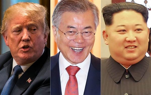 왼쪽부터 트럼프 미국 대통령, 문재인 대한민국 대통령, 김정은 북한 국무위원회 위원장.