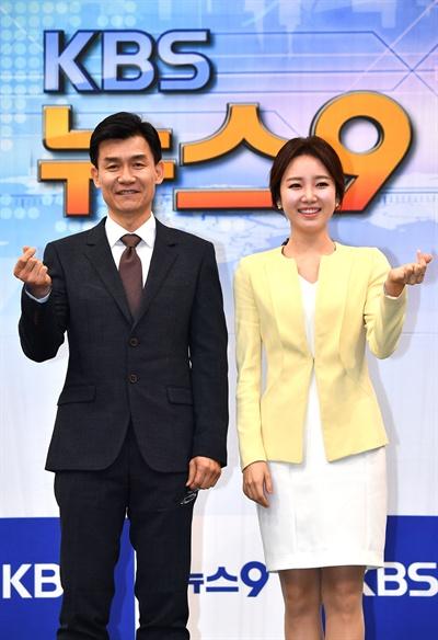 13일 오전 여의도 KBS서 열린 KBS 뉴스 앵커 기자간담회에 참석한 앵커들. <뉴스9/> 김철민, 김솔희 앵커.