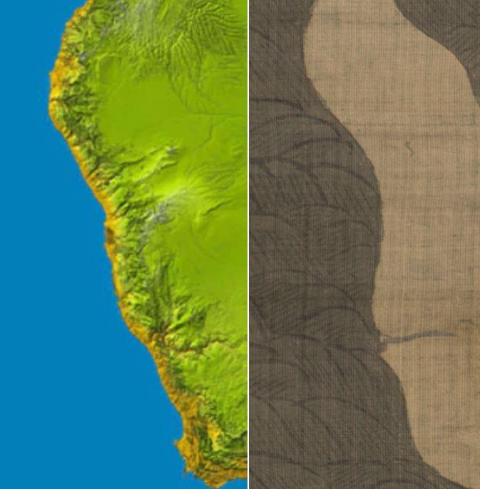 남부 아프리카 서해안 NASA지도와 강리도