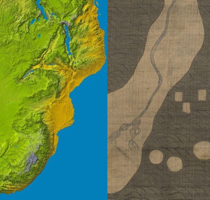 남부 아프리카 동해안 NASA지도와 강리도