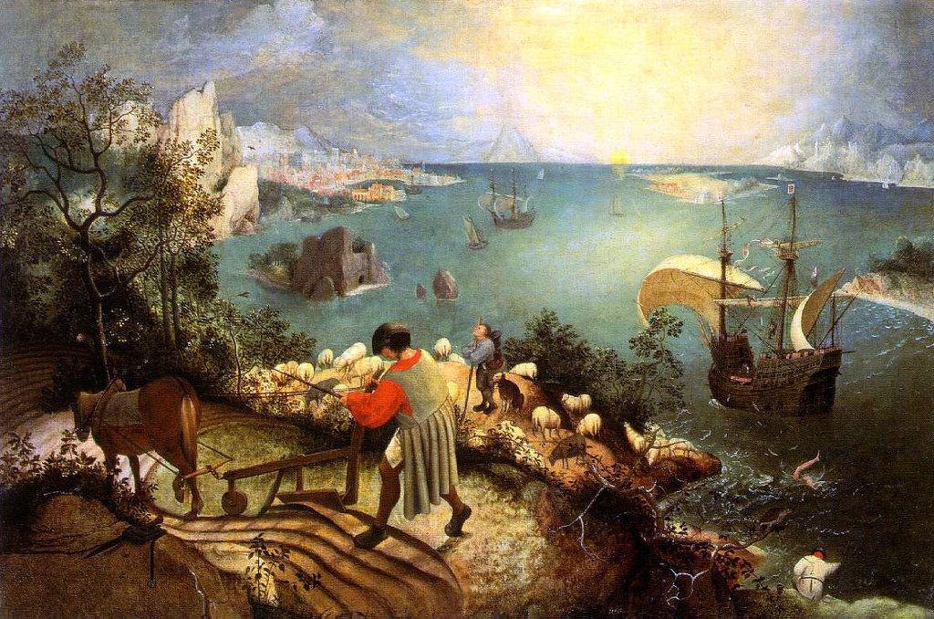 이카루스의 추락(피터 브뤼겔,1558년경.벨기에 브뤼셀왕립미술관)