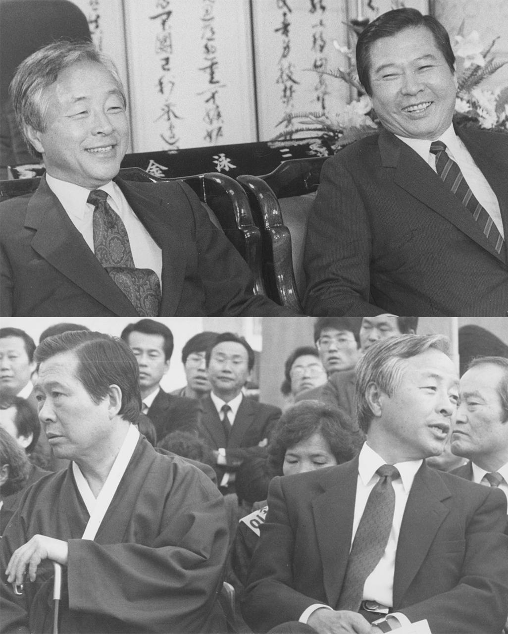 (위)김영삼과 김대중은 9월 1일 서로 웃으면서 대통령 후보 단일화 협의를 했으나 실패했다. (아래)단일화 협상이 결렬된 후 처음 만난 10월 25일 고려대 집회 자리에서는 냉랭한 사이가 되고 말았다.