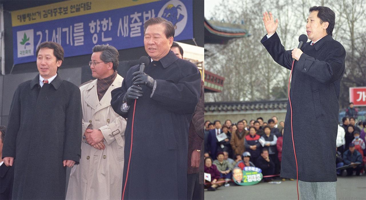 옥중메시지를 전달한 1987년에서 10년이 지난 1997년 제15대 대통령 선거에서 김근태는 다시 한 번 김대중에 대한 '비지'를 내걸고 김대중의 대통령 당선을 도왔다. (왼쪽) 1997년 12월 1일, 캠프파랑새 유세장에서 연설하는 김대중 후보와 지원하고 있는 김근태, (오른쪽)같은 날 서울 어린이대공원 유세장에서 김대중 대통령 후보 지지 연설을 하고 있는 김근태
