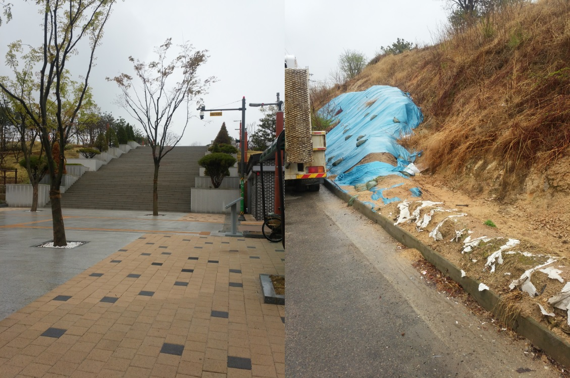 왼쪽 사진은 도로변에 위치한 입구에서 바라본 공원 모습. 오른쪽 사진은 공원 뒤편의 야산이다. 흙더미가 차도로 내려앉지 못 하게 비닐 덮개와 모래주머니로 야산을 덮었다.