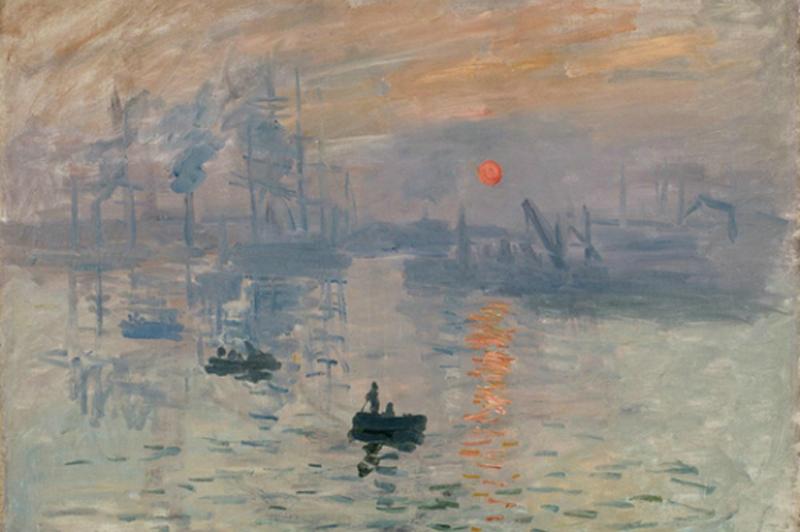 모네 '인상,해돋이'(1872, 파리 마르모탕 모네미술관), '비난과 조롱으로 시작된 그림이지만 오늘날 가장 사랑받는 미술이 된 '인상주의', 그 용어를 낳게했다는 모네의 그림.