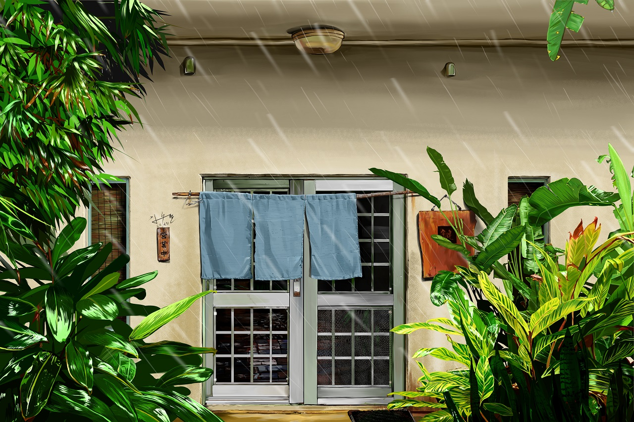 비내리는 날의 '삼색수타면집'