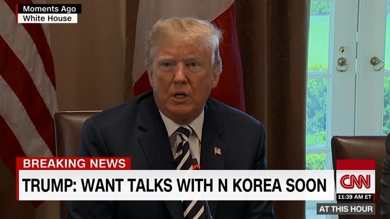 도널드 트럼프 미국 대통령의 북미정상회담 관련 기자회견을 보도하는 CNN 뉴스 갈무리.