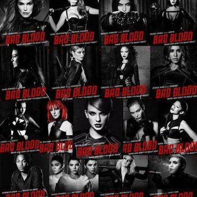 테일러 스위프트의 'Bad Blood' 뮤직비디오 속 참여한 여러 아티스트들.