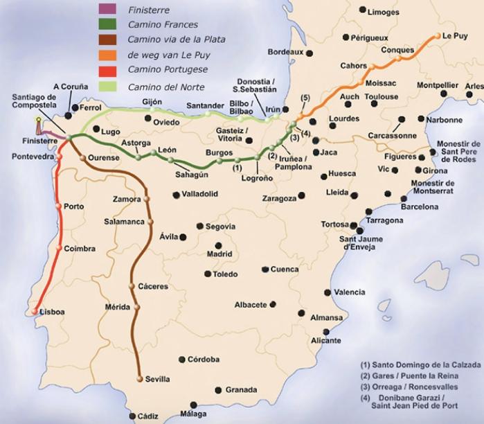 네 군데(빨강, 갈색, 녹색, 연두색)의 유명한 산티아고 순례길 지도. 녹색이 작년에 걸었던 프랑스 길이다. 이번 여름에는 빨강색 포르투갈 길을 걷게 된다.