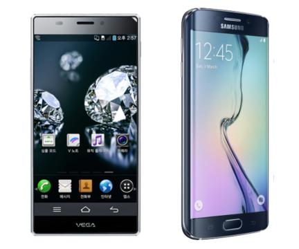 좌우 베젤을 극단적으로 줄인 두 스마트폰 (좌: 팬텍의 베가 아이언, 우: 삼성의 갤럭시S6 엣지)