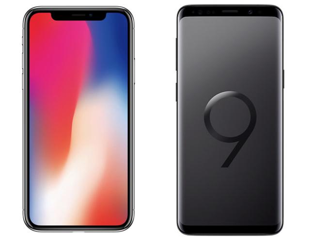 각 방식을 채택한 대표적인 스마트폰 (좌: 애플이 아이폰X, 우: 삼성의 갤럭시S9)