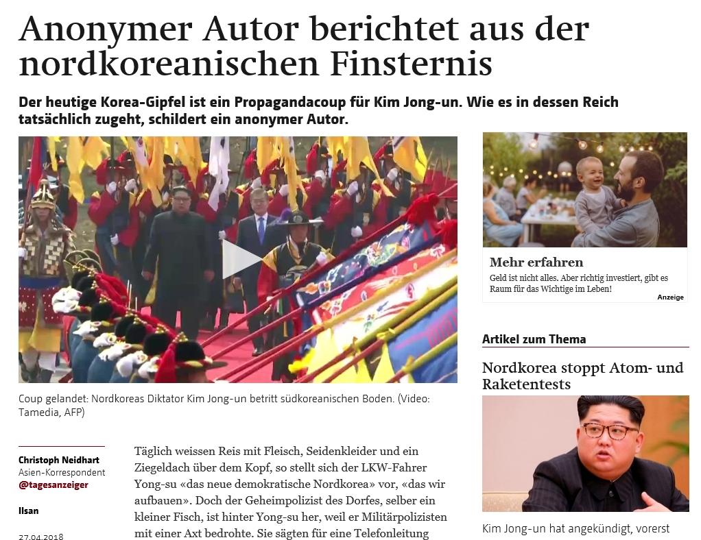 """""""과소평가된 김정은"""" '베르너 차이퉁(Berner Zeitung)'지는 '영리한 김정은은 과소평가 받아왔다'란 제목의 기사에서 """"북한의 독재자 김정은이 판문점에서 세계를 놀라게 했다""""고 보도했다."""