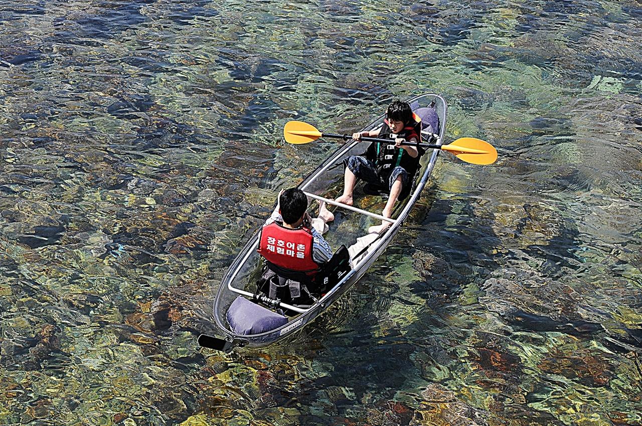 투명카누체험  바다 밑바닥까지 훤히 내려다보는 투명 카누 체험은 장호항에서만 즐길 수 있는 특별한 체험이다. 둔대다리 위에서 내려다보고 찍은 사진이다.