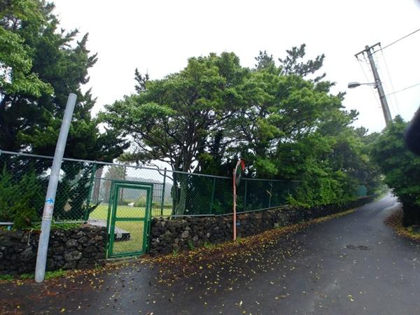 검은여 해안 윗쪽 서귀포 칼호텔 정원으로 들어갈 수 있도록 만들어 놓은 작은 철문은 자물쇠로 굳게 잠긴 상태로 9년간 유지되고 있다.(사진=안창흡)