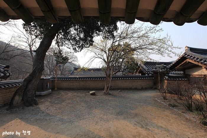 독락당에서 본 앞마당 독락당에는 인위적으로 조성된 정원은 없으며, 굳이 정원 형태를 찾는다면 입구 왼편에 조성된 작은 화오와 나무 몇 그루 심은 앞마당 정도일 것이다.