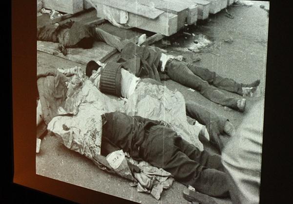 5·18민주화운동기록관일 9일 국립아시아문화전당에서 상영회를 통해 공개한 5·18영상기록물. 1980년 5월27일 계엄군의 도청 진압 이후 수습되지 않은 시신들이 찍힌 장면이다.