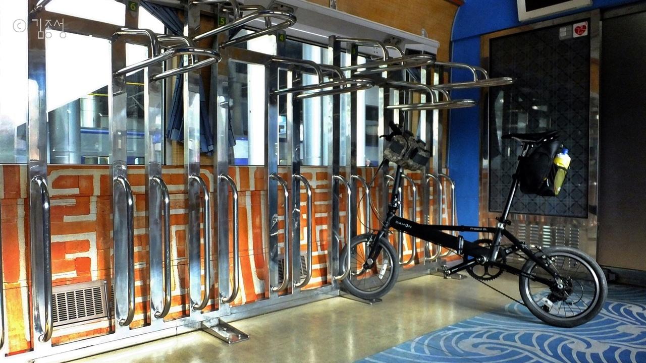 자전거 전용칸이 있는 남도해양열차.