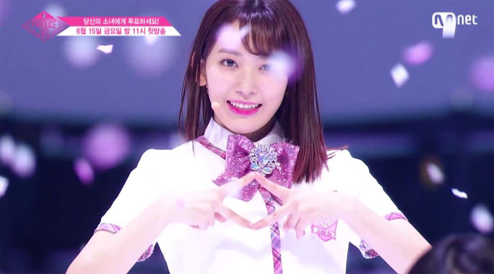 엠넷의 한일 합작 프로젝트 '프로듀스 48'의 센터로 선택된 AKB48 멤버 미야와키 사쿠라 (방송화면 캡쳐)