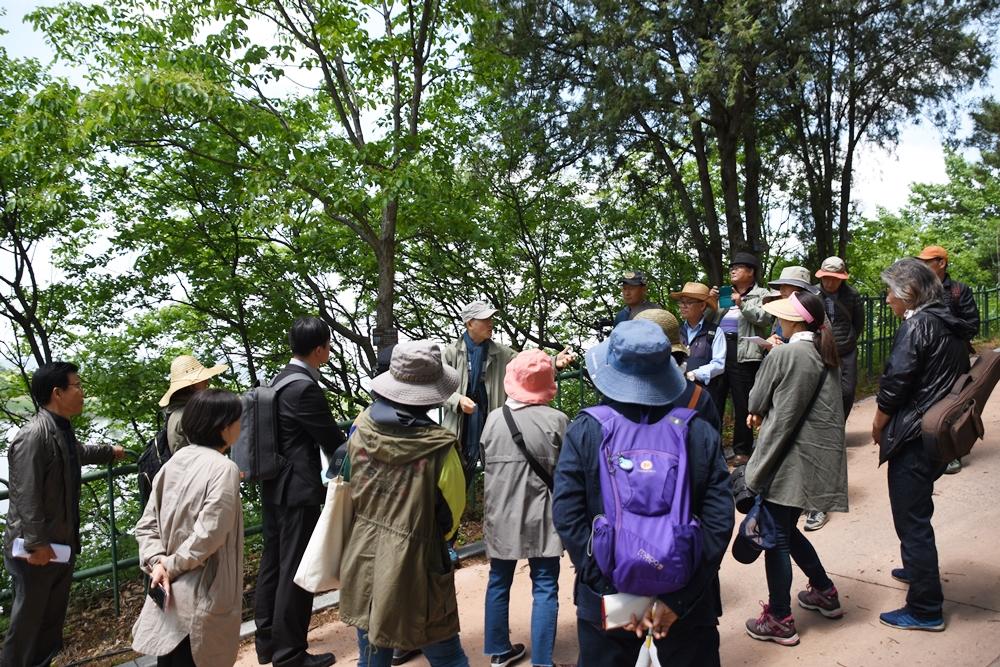 현장 생태강의에 나선 김종원 교수가 시민들에게 모감주나무에 대해 설명하고 있다. 김종원 교수는 화원동산 하식애의 모감주나무군락지를 국가 천연산림자원으로 지정해 특별히 보호해야 한다고 말했다.