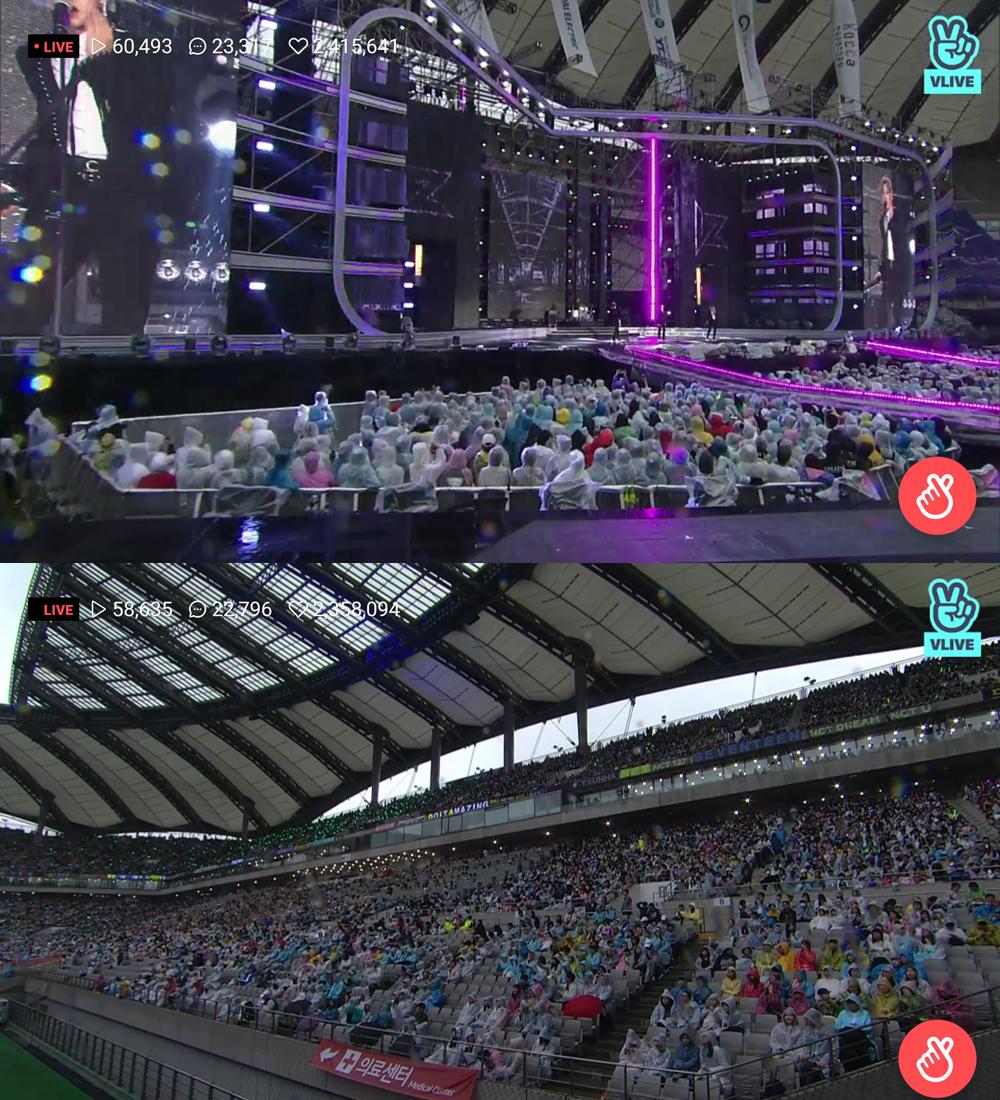 2018 드림콘서트가 지난 12일 서울 상암월드컵경기장에서 하루 종일 비가 내리는 악천후 속에서도 성황리에 열렸다. (인터넷 방송 화면 캡쳐)
