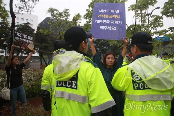 개식용 금지법 요구하는 동물보호단체 회원들 16일 오후 서울 여의도 국회 인근에서 열린 개사육 농민 생존권 보장 집회에 동물보호단체 회원들이 개고기 식용을 반대하는 피켓시위를 벌이고 있다.