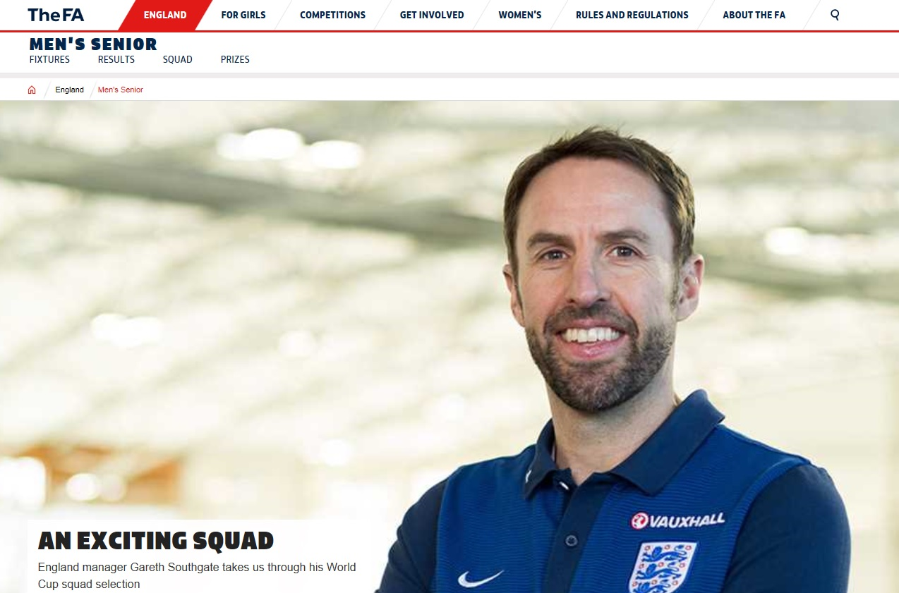 러시아월드컵에 출전할 23명의 엔트리를 발표한 가레스 사우스게이트 잉글랜드 대표팀 감독.
