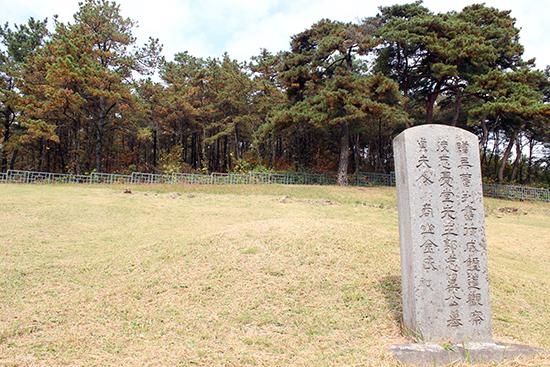 봉분이 거의 없는 홍의장군 곽재우 묘소