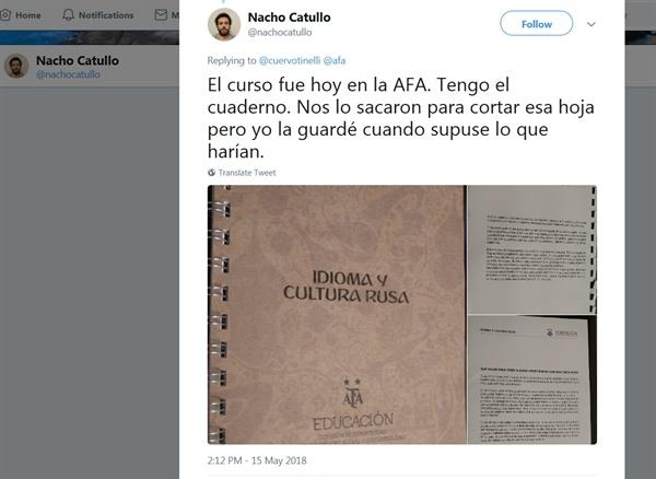 아르헨티나 기자가 본인의 트위터 계정에 공개한 아르헨티나 축구협회의 러시아 문화 관련 매뉴얼