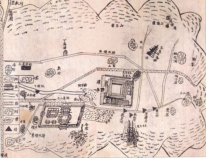 옥산마을 지도 1956년 <여주이씨세보>에 실린 옥산마을 지도. 옥산서원과 독락당 일대를 그린 지도이다.