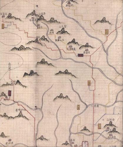 경주 지도 세부 1760년경 비변사에서 제작한 것으로 추정되는 <영남도> 중 경주 지도 세부. 위쪽에 옥산서원과 계정, 자옥산, 화개산 등의 표기가 보인다.