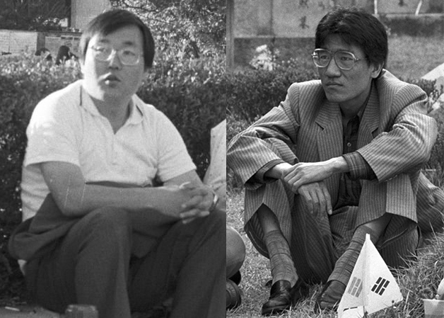 1987년 12월, 새로운 민중운동연합체를 논의하기 위해, 구속된 김병곤 대신 민통련·민청련 대표로 회의에 참석한 이명식(왼쪽)과 김두일(오른쪽).