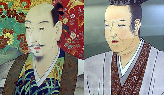 일본 기후성 천수각 안에 게시되어 있는 오다(왼쪽)와 배신자 아케치의 초상(일부)