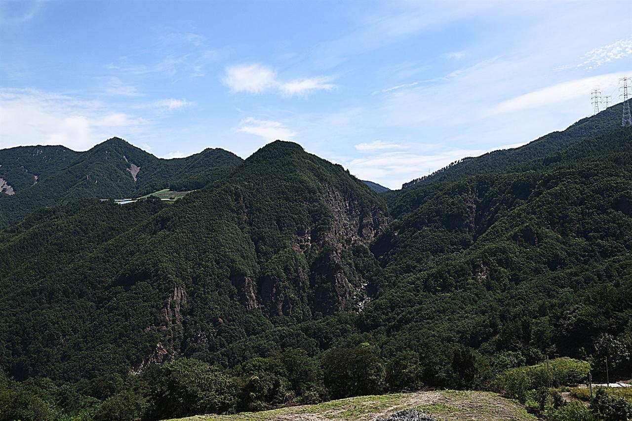 통리 협곡 원경  협곡 건너편 산줄기 38번 국도변에서 바라본 통리 협곡의 모습. 보호해야할 특이 지형이다.