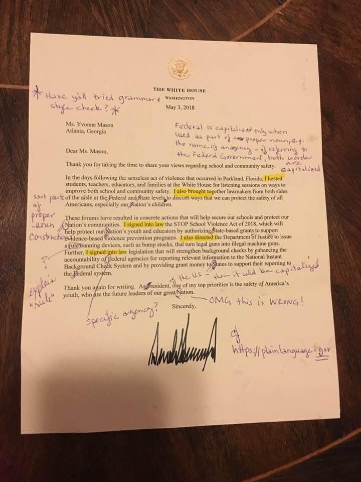 첨삭한 도널드 트럼프 대통령의 편지