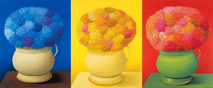 파란꽃,노란꽃,빨간꽃(페르난도 보테로,2006 안티오키아박물관)